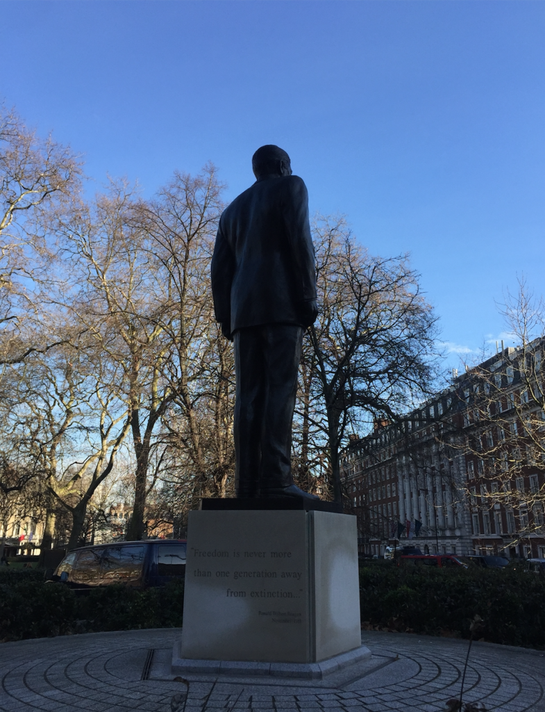 Ronald Reagan statue at US embassy in London